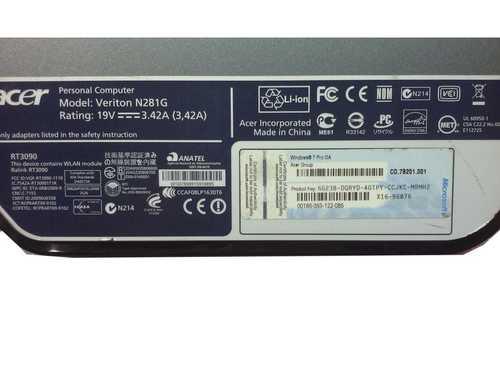 Acer N281G Veriton Intel Atom 1.8 GHz DDR3 SDRAM -NO HDD or RAM-